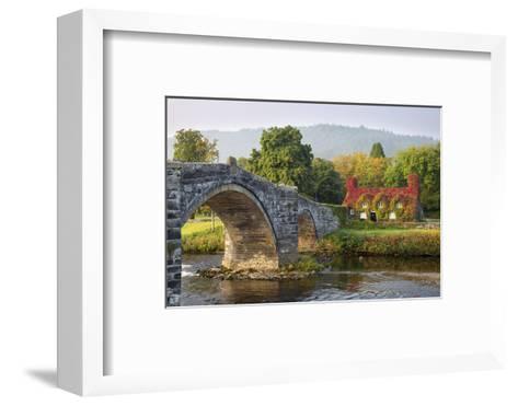 Tu Hwnt I'R Bont Tearoom and Pont Fawr (Big Bridge) in Autumn, Llanrwst, Snowdonia, Conwy, Wales-Stuart Black-Framed Art Print
