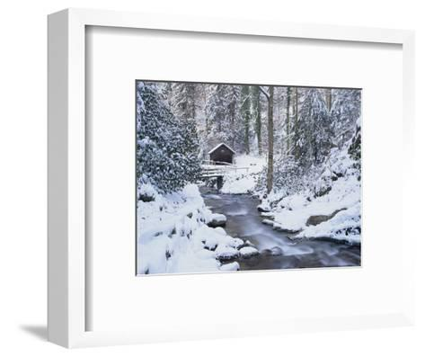 Cottage in a Forest in Winter-Marcus Lange-Framed Art Print