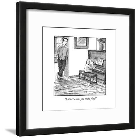 """""""I didn't know you could play!"""" - Cartoon-Harry Bliss-Framed Art Print"""