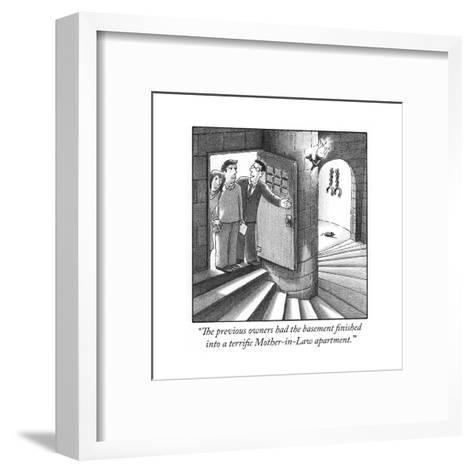 """The previous owners had the basement finished into a terrific Mother-in-L?"" - Cartoon-Harry Bliss-Framed Art Print"