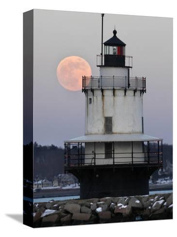 Full Moon Rises Behind the Spring Point Light House in South Portland, Maine--Stretched Canvas Print