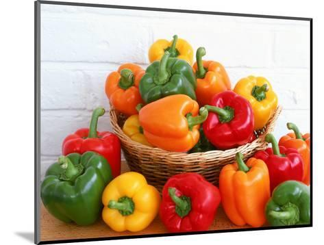 Sweet Peppers in and Around Basket-David Ball-Mounted Photographic Print