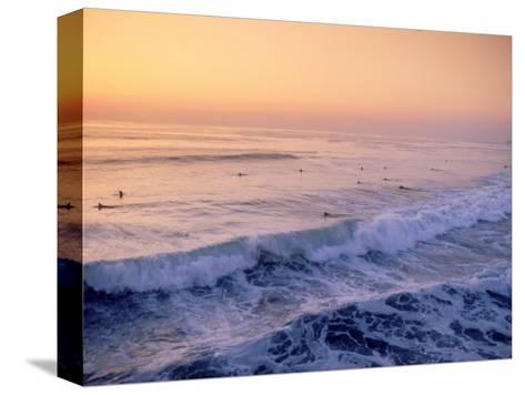 Surfers, Mission Beach, San Diego, California-James Lemass-Stretched Canvas Print