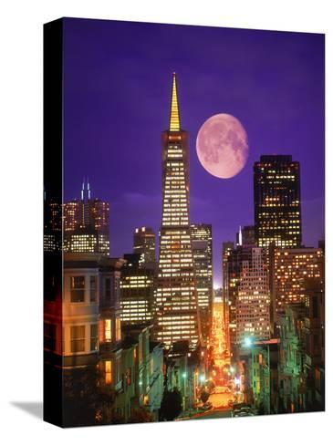 Moon Over Transamerica Building, San Francisco, CA-Terry Why-Stretched Canvas Print