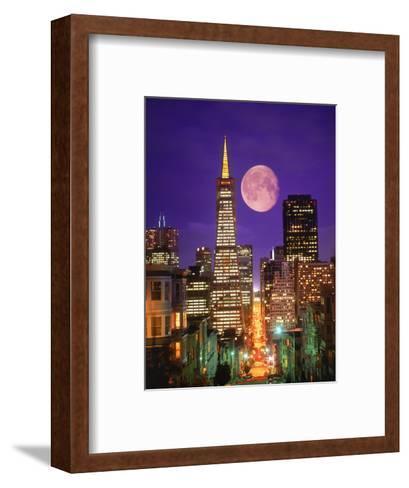 Moon Over Transamerica Building, San Francisco, CA-Terry Why-Framed Art Print
