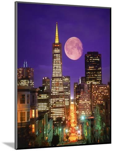 Moon Over Transamerica Building, San Francisco, CA-Terry Why-Mounted Photographic Print