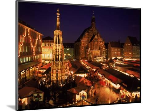 Christmas Fair at Night, Nurnberg, Germany-David Ball-Mounted Photographic Print