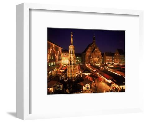 Christmas Fair at Night, Nurnberg, Germany-David Ball-Framed Art Print