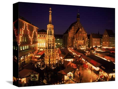Christmas Fair at Night, Nurnberg, Germany-David Ball-Stretched Canvas Print