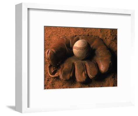 Baseball Glove with Ball on Dirt-John T^ Wong-Framed Art Print