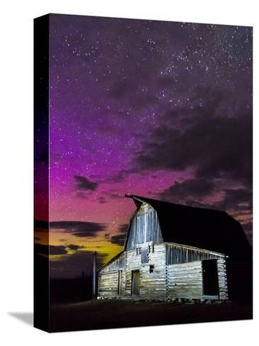 Northern Lights Above Moulton Barn-Mike Cavaroc-Stretched Canvas Print