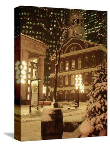 Faneuil Hall at Christmas with Snow, Boston, MA-James Lemass-Stretched Canvas Print
