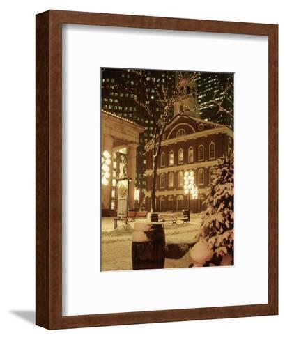 Faneuil Hall at Christmas with Snow, Boston, MA-James Lemass-Framed Art Print