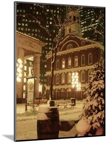 Faneuil Hall at Christmas with Snow, Boston, MA-James Lemass-Mounted Photographic Print