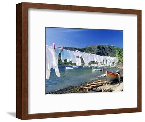 Drying Laundry on the Beach, St. Lucia-Angelo Cavalli-Framed Art Print