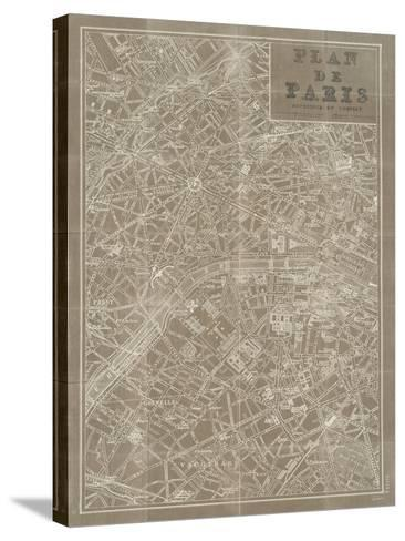 Blueprint Map Paris Taupe-Sue Schlabach-Stretched Canvas Print