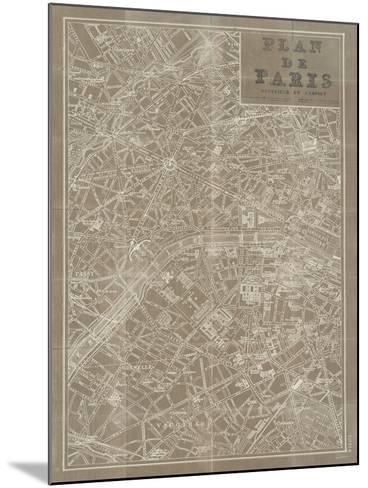 Blueprint Map Paris Taupe-Sue Schlabach-Mounted Premium Giclee Print