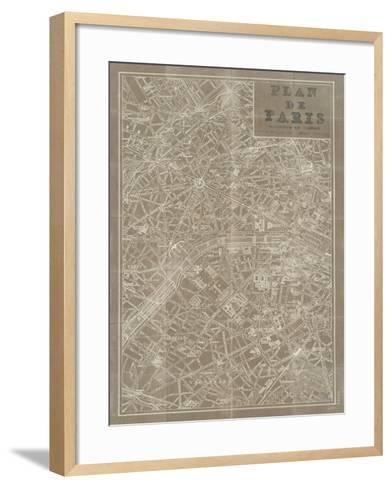 Blueprint Map Paris Taupe-Sue Schlabach-Framed Art Print