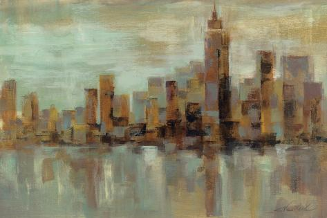 Misty Day in Manhattan-Silvia Vassileva-Stretched Canvas Print