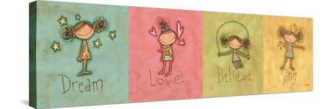 Dream, Love Believe and Sing Panel-Anne Tavoletti-Stretched Canvas Print