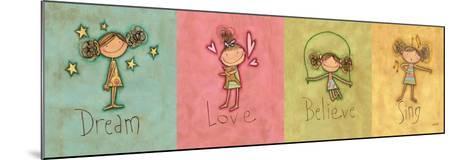 Dream, Love Believe and Sing Panel-Anne Tavoletti-Mounted Premium Giclee Print