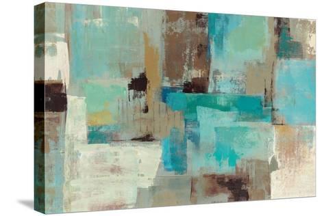 Teal and Aqua Reflections V2-Silvia Vassileva-Stretched Canvas Print