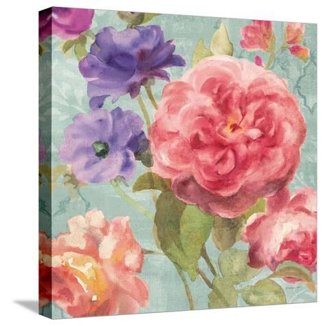 Watercolor Floral II on Grey-Danhui Nai-Stretched Canvas Print
