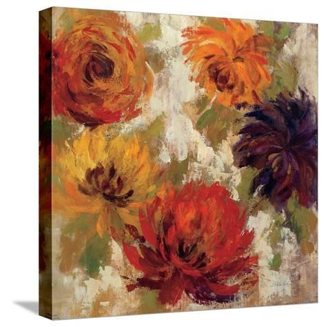 Fiery Dahlias II--Stretched Canvas Print