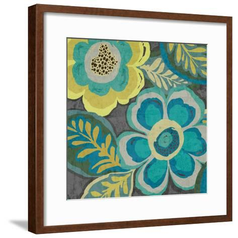 Floral Assortment Teal on Dark Grey Crop III-Hugo Wild-Framed Art Print