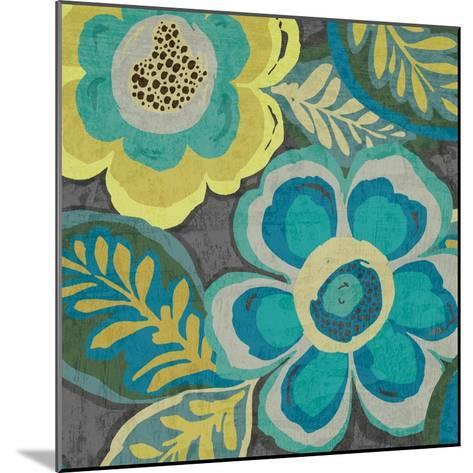 Floral Assortment Teal on Dark Grey Crop III-Hugo Wild-Mounted Art Print
