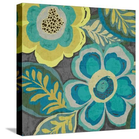 Floral Assortment Teal on Dark Grey Crop III-Hugo Wild-Stretched Canvas Print