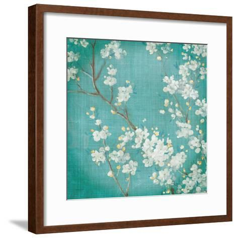 White Cherry Blossoms II on Blue Aged No Bird-Danhui Nai-Framed Art Print