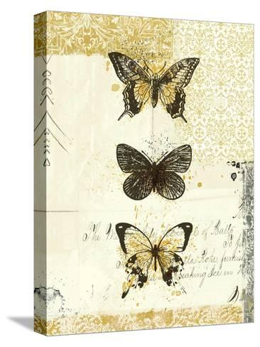Golden Bees n Butterflies No 2-Katie Pertiet-Stretched Canvas Print