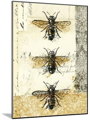 Golden Bees n Butterflies No 1-Katie Pertiet-Mounted Art Print