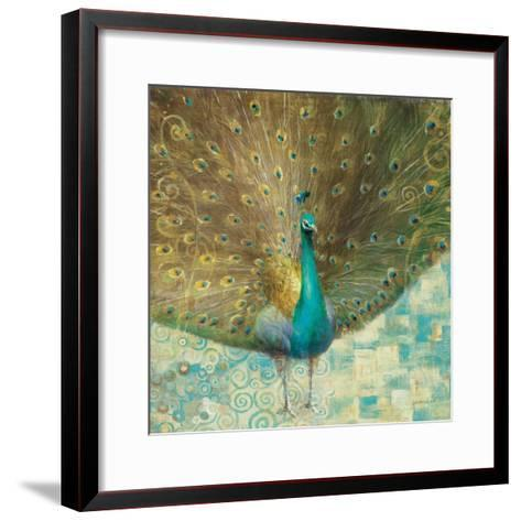 Teal Peacock on Gold-Danhui Nai-Framed Art Print