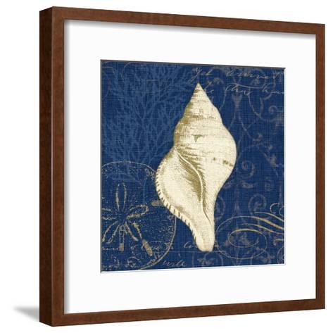 Coastal Moonlight IV Teal Center-Pela Design-Framed Art Print