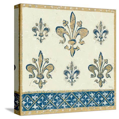 Regal Fleur de Lis Indigo and Cream-Designs Meloushka-Stretched Canvas Print