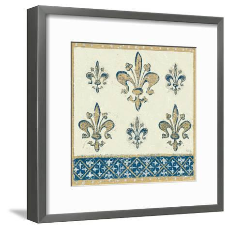 Regal Fleur de Lis Indigo and Cream-Designs Meloushka-Framed Art Print