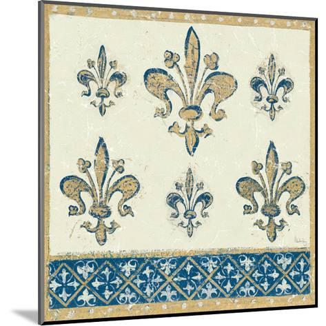 Regal Fleur de Lis Indigo and Cream-Designs Meloushka-Mounted Art Print