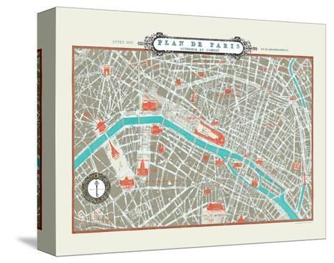 Plan de Paris Map--Stretched Canvas Print