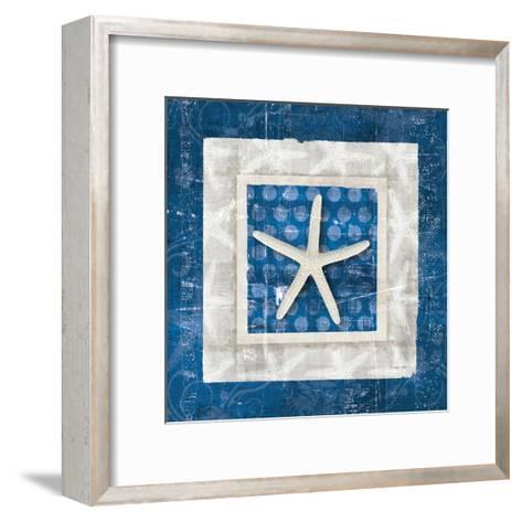 Sea Shell IV on Blue-Belinda Aldrich-Framed Art Print