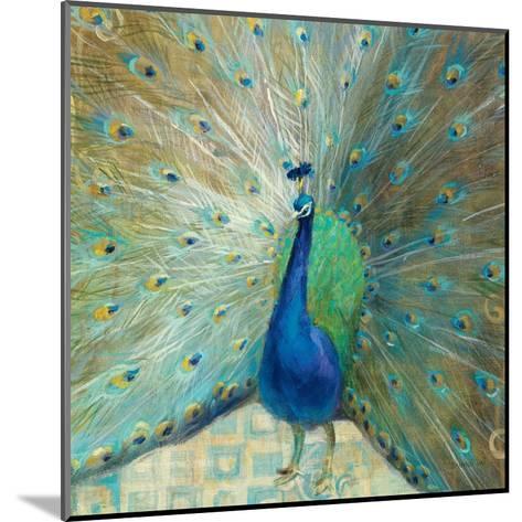 Blue Peacock on Gold-Danhui Nai-Mounted Art Print