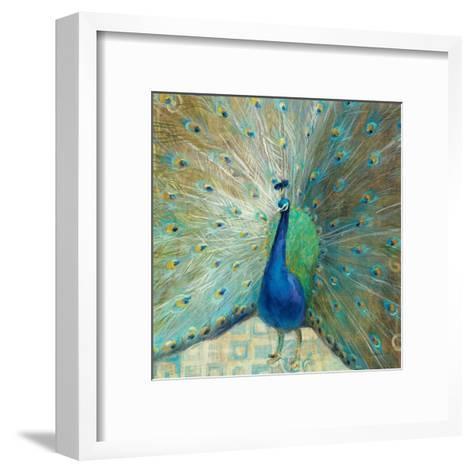 Blue Peacock on Gold-Danhui Nai-Framed Art Print