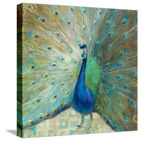 Blue Peacock on Gold-Danhui Nai-Stretched Canvas Print