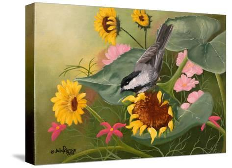 Chickadee and Sunflowers-Julie Peterson-Stretched Canvas Print
