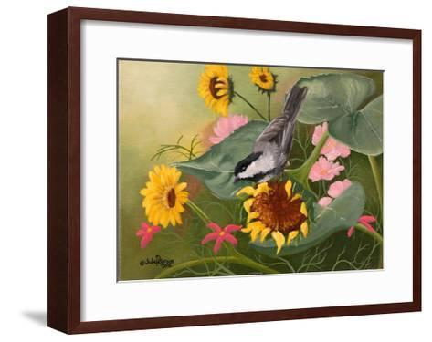 Chickadee and Sunflowers-Julie Peterson-Framed Art Print