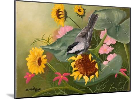 Chickadee and Sunflowers-Julie Peterson-Mounted Art Print
