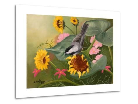Chickadee and Sunflowers-Julie Peterson-Metal Print
