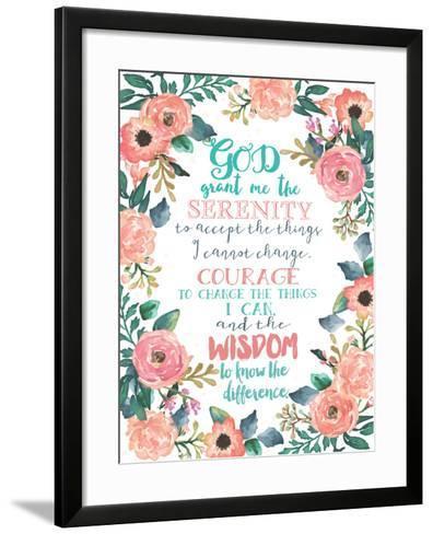 Serenity Prayer Floral-Jo Moulton-Framed Art Print