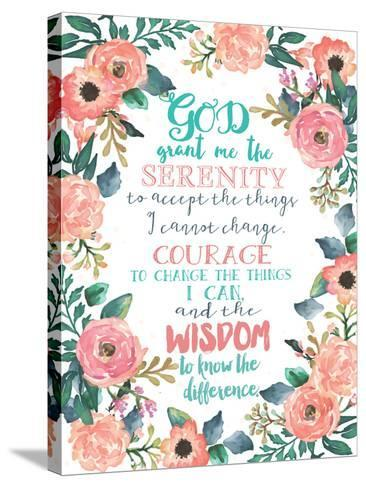 Serenity Prayer Floral-Jo Moulton-Stretched Canvas Print